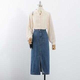 Thời trang 2020 Denim Váy bút chì Nữ thắt lưng phía trước váy jean xẻ tà trước