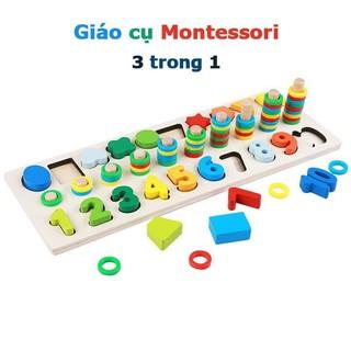 Bộ logic 3 dòng Montessori học đếm số và hình khối