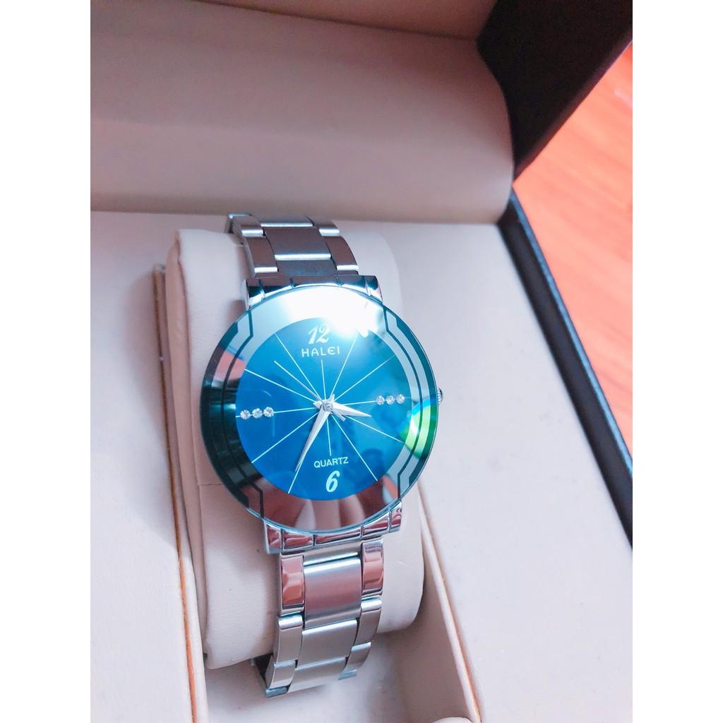 [Mã WTCHFEB giảm 20K ] Đồng hồ Nữ Halei dây kim loại không ghỉ, chống nước, chống xước
