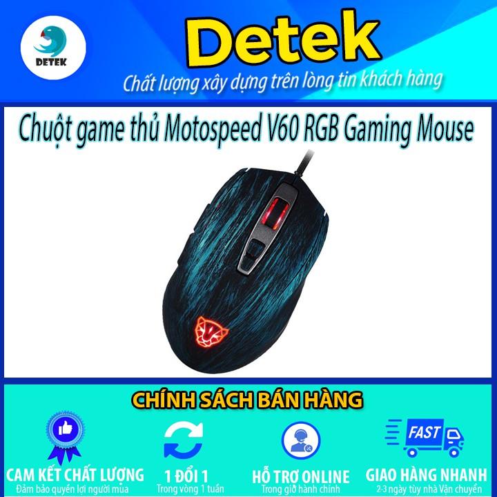 Chuột game thủ Motospeed V60 RGB Gaming mouse có LED thay đổi theo DPI Xanh, đỏ, đen