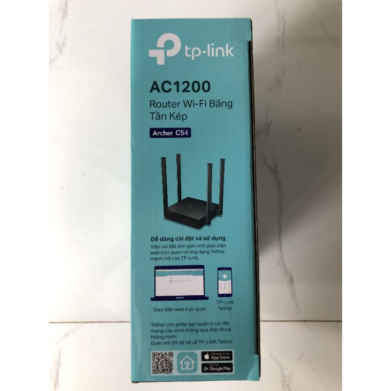Router wifi băng tần kép AC 1200Mbps Archer C54 - Hãng phân phối chính thức