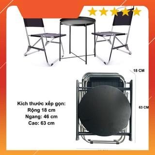 """Bộ 1 bàn tròn 2 ghế xếp gọn đa năng, bộ bàn trà chanh, cafe quán góc, du lịch tiện dụng – màu đen """"VUA GIA RE"""""""