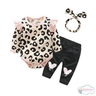 Set bộ áo liền quần + quần dài + băng đô xinh xắn dành cho bé gái