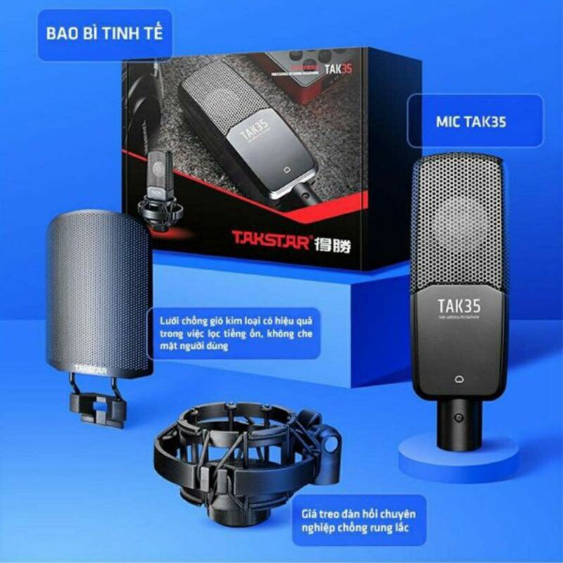 [CHÍNH HÃNG] Micro thu âm Takstar TAK35 thu âm chuyên nghiệp, hát karaoke tại nhà, livestream fb, bán hàng online