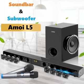 Loa Soundbar 5.1 Bluetooth Hát Karaoke AMOI L5 Tặng Kèm 02 Micro Không Dây Cao Cấp ( kèm trầm )