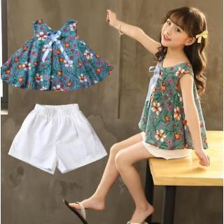 Set quần áo in hoa mùa hè đáng yêu cho bé gái