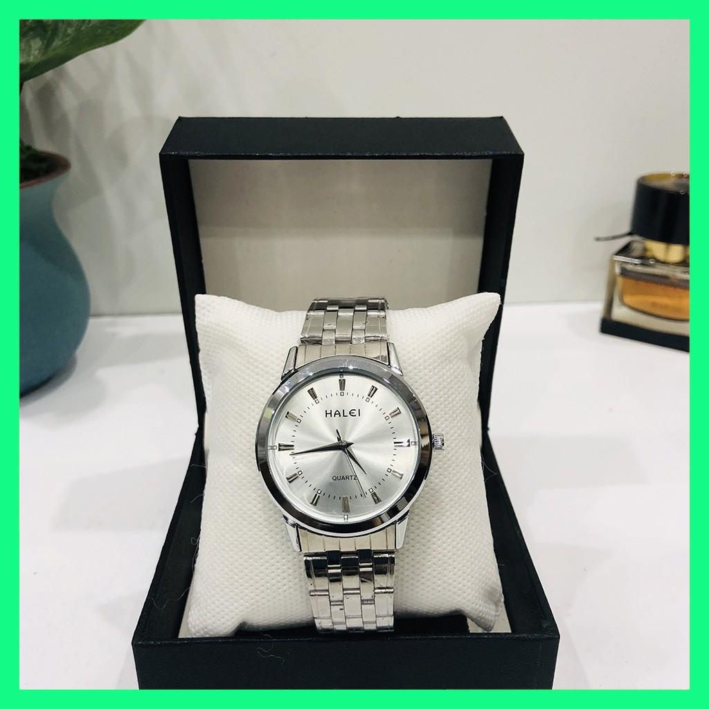 Đồng hồ nam HALEI 502 chống nước dây bạc trắng
