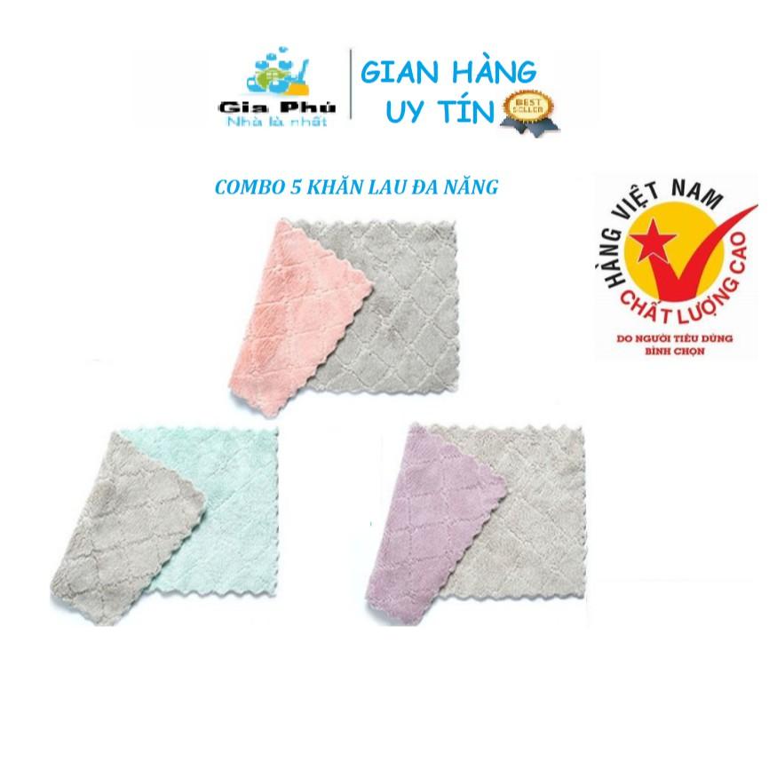 Combo 5 khăn lau đa năng thấm hút nước tốt, mềm mại Gia Phú