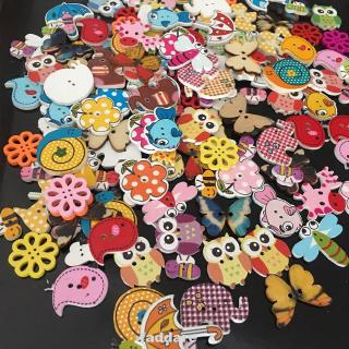 Button 2-holes Wooden Cartoon Crafts Cute Handmade Accessories Scrapbooking Sewing
