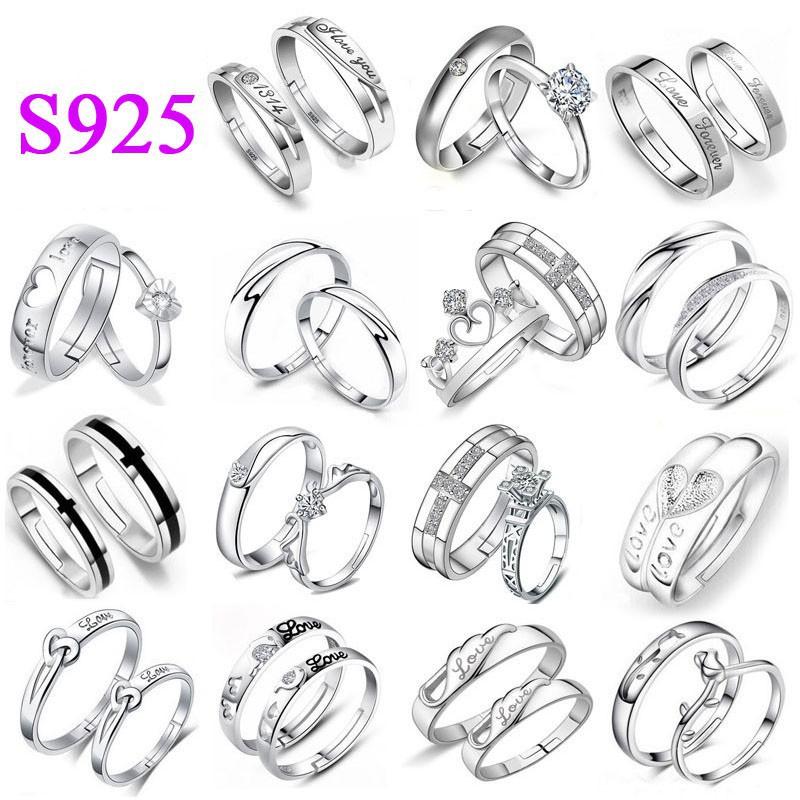 Nhẫn đôi bằng thép không gỉ mạ bạc 925 thời trang