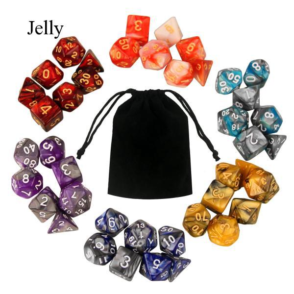 6 Set Acrylic Polyhedral Game Dice 7 Style D12 for Dungeons Math Playing J426