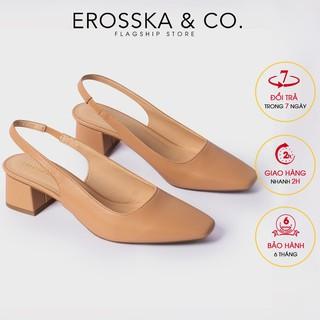 Carl & Ane - Giày cao gót mũi vuông gót hở phối dây quai mảnh cao 5cm màu bò - EL016