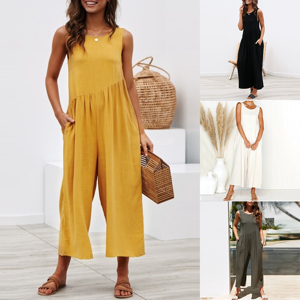 Fashion Sleeveless Wide Leg Backless Solid Casual Clubwear Outfit Women Jumpsuit