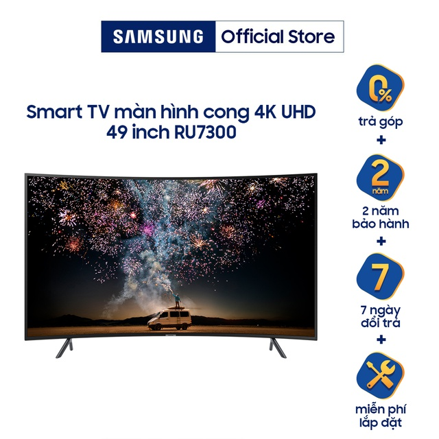 [Nhập SAMS15TR Giảm 1.5TR] Smart Tivi Samsung 4K UHD 49 inch UA49RU7300KXXV - Chính Hãng Phân Phối