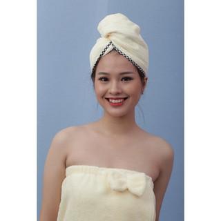 Hình ảnh Mũ quấn tóc POÊMY SỌC GÂN - Mũ quấn tóc Poêmy siêu tiện lợi, thấm hút khô nhanh-6