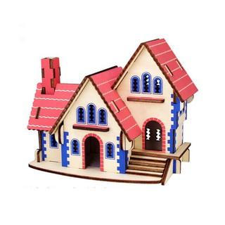 Đồ Chơi Ghép Hình Gỗ 3D Mô Hình Pink Dream House
