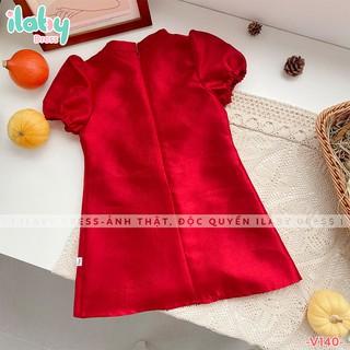 Váy cho bé gái ILABY tafta nhũ họa tiết bèo tròn đỏ cho bé dự tiệc [V140]