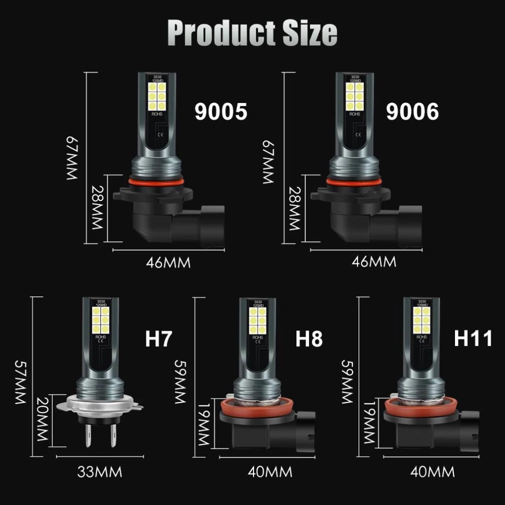Đèn Gầm, Đèn Pha Xe Máy, Sương Mù Ô Tô Ánh Sáng 6500K, Độ Sáng 2400LM Chân H11(H8,H9), H4(9003/HB2), H10(9005/9006), H7