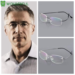 WONDERFUL Degree Reading Glasses Elder Memory Titanium Eyeglass Health Care Rectangular Ultralight Spectacles Unisex Rimless/Multicolor