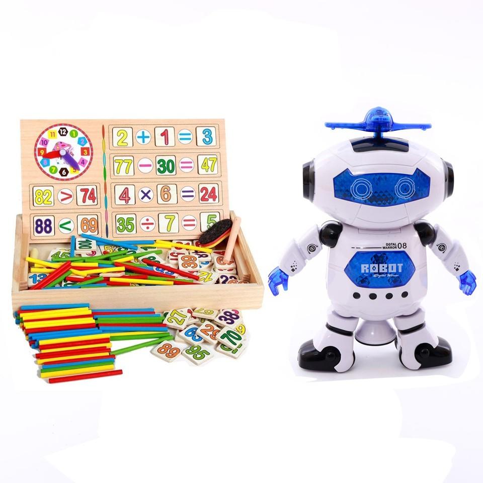 combo 1 rô bốt thông minh xoay 360 + 1 bảng gỗ 2 mặt dạy bé học toán