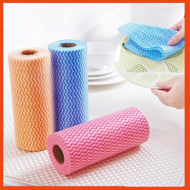 [ƯU ĐÃI KHỦNG]  Cuộn khăn vải không dệt lau chén đĩa ( 50 miếng) | Hàng Bán Chạy