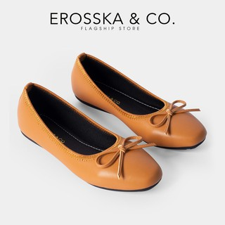 Giày búp bê Hàn Quốc Erosska kiểu dáng Hàn Quốc đế cao su da mềm đính nơ màu bò _ EF006 thumbnail