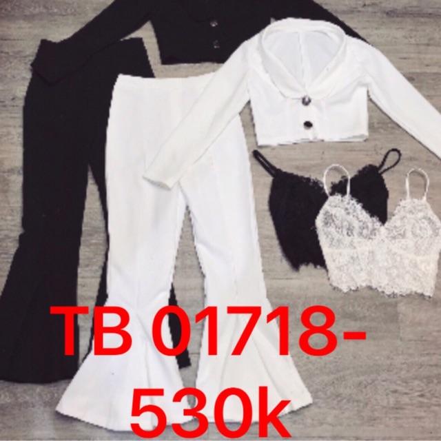Freeship 99k TQ_Sét vét trắng và quần ống loe