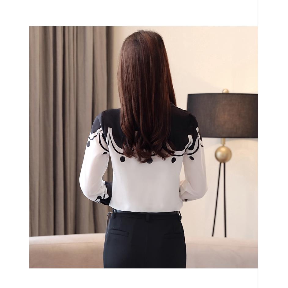 Áo sơ mi công sở tay dài phong cách Hàn Quốc thanh lịch dành cho bạn nữ