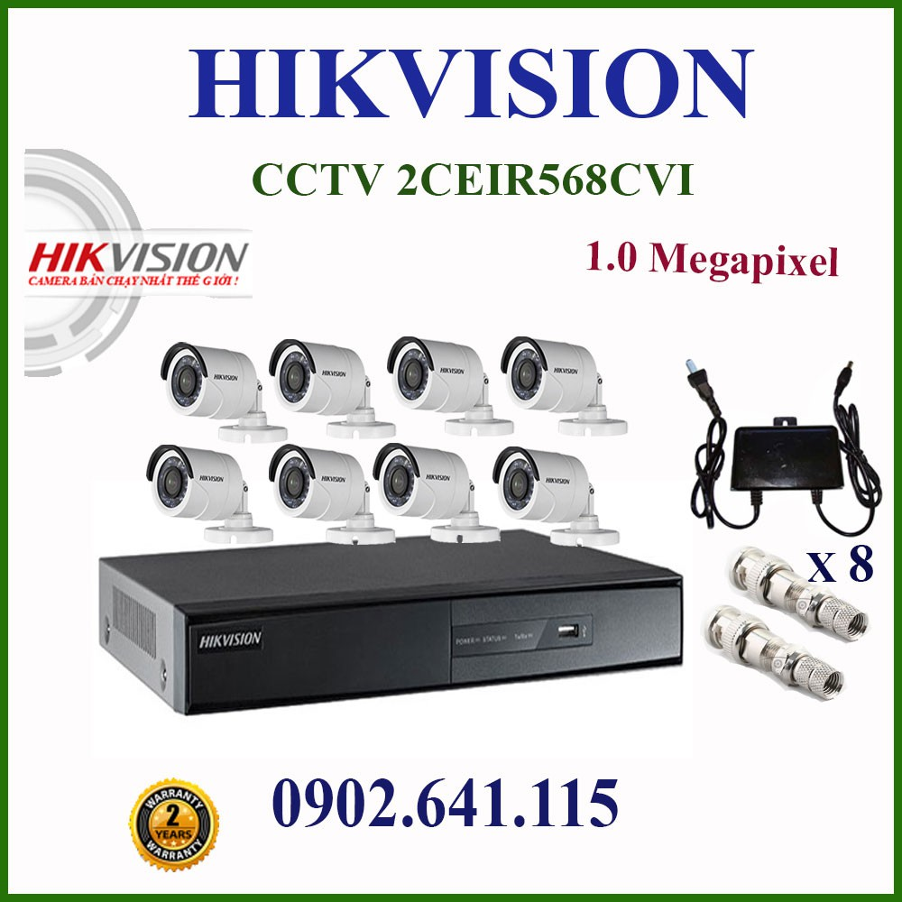 TRỌN BỘ 8 CAMERA 1.0MP HIKVISION CCTV DS-2CE16C0T-IRP