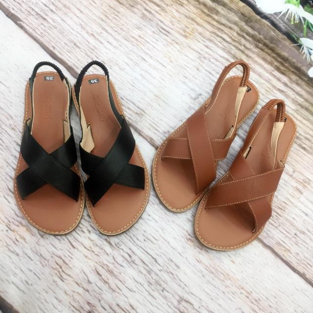 Giày sandal bệt nữ, chất liệu da bò