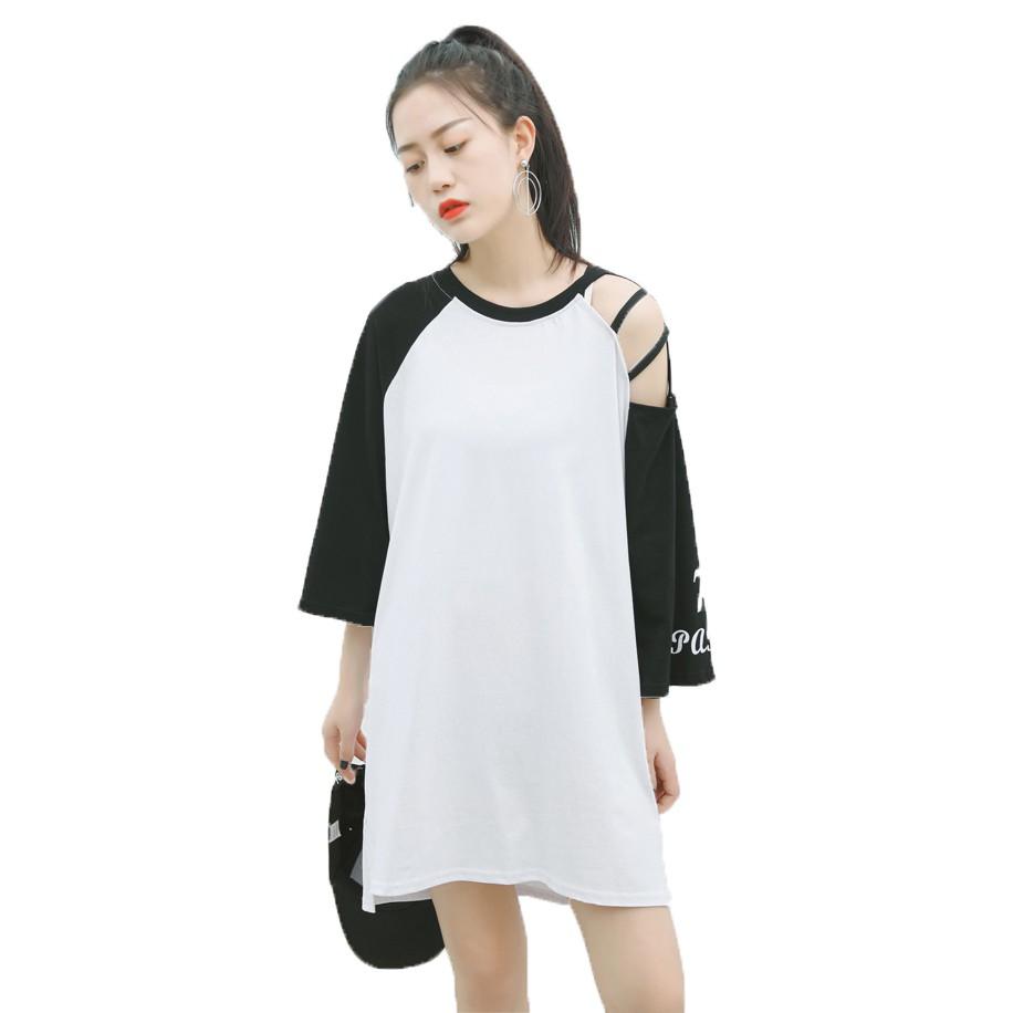 Váy Tay Lỡ Tay Cách Điệu VAY 800011 W (Thân Trắng)