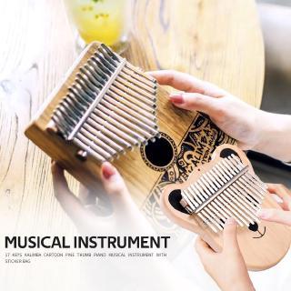 ♚New-Item♚17 Keys Pine Wood Kalimba Cartoon Bear Thumb Piano w/ Tuning Hammer Sticker
