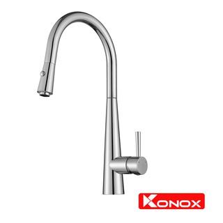 Vòi rửa bát rút dây KONOX KN1901C hợp kim đồng 61% tiêu chuẩn Châu Âu CW617N, bề mặt xử lý công nghệ PVD Chrome 5 lớp