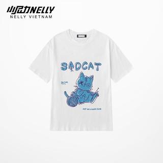 Áo thun tay lỡ NELLY cotton 4 chiều dáng unisex in hình sad cat mã N0118 thumbnail