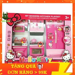 Đồ Chơi Tủ Bếp Hello Kitty 3 Ngăn Màu Hồng,Gồm Cả Bếp Và Tủ Lạnh,Lò Vi Sóng,Có Nhạc Nấu Ăn,Đầy Đủ Tiện Nghi - SUMOSHOP68 thumbnail