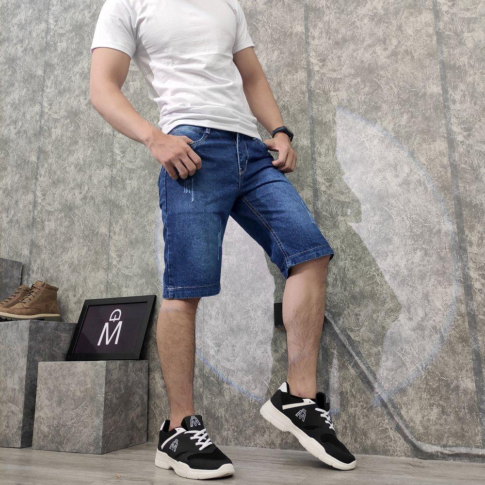 Quần short jeans nam xanh vải dày Q37 MĐ