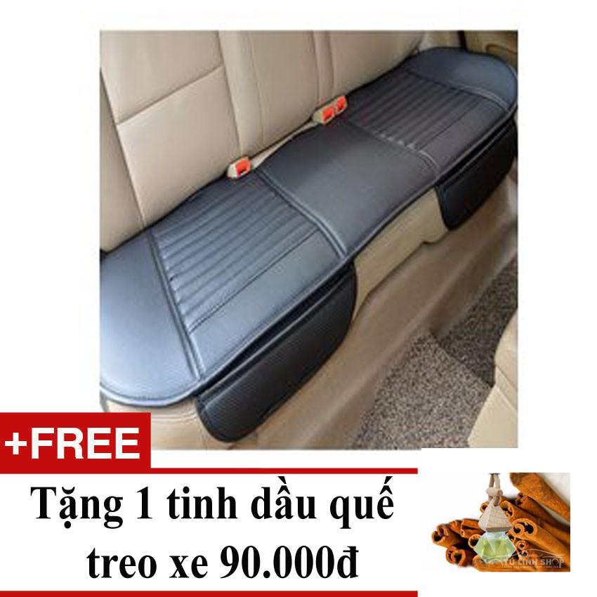 Tấm lót ghế da dùng cho băng ghế sau ô tô + Tặng 1 tinh dầu quế treo xe