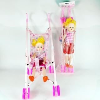 [FREESHIP] Đồ chơi búp bê xe đẩy em bé giúp bé thoải mái vui chơi và học tính sáng tạo 6723