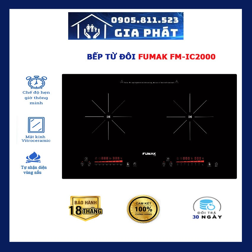 Bếp Từ Đôi Fumak FM-IC2000, lỗi đổi trong 30 ngày.