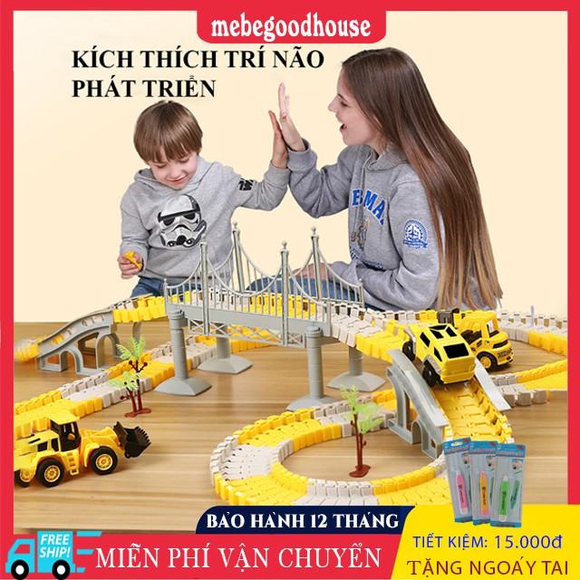 Đồ chơi trẻ em phát triển trí tuệ, lắp ghép đường ray ô tô, tàu hỏa nhiều chi tiết