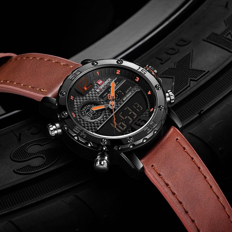 NAVIFORCE NF9134 Men Sport Fashion Leather Band Analog Digital Watch