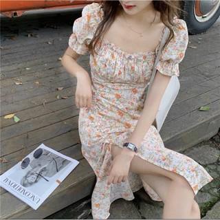 [ Loại 1 ]Váy Xòe Nữ, Đầm Hoa Tay Nhún Xếp Ly Ngực Rút Dây Xẻ Tà Chất Voan Lụa Mềm Mịn Siêu Sang.