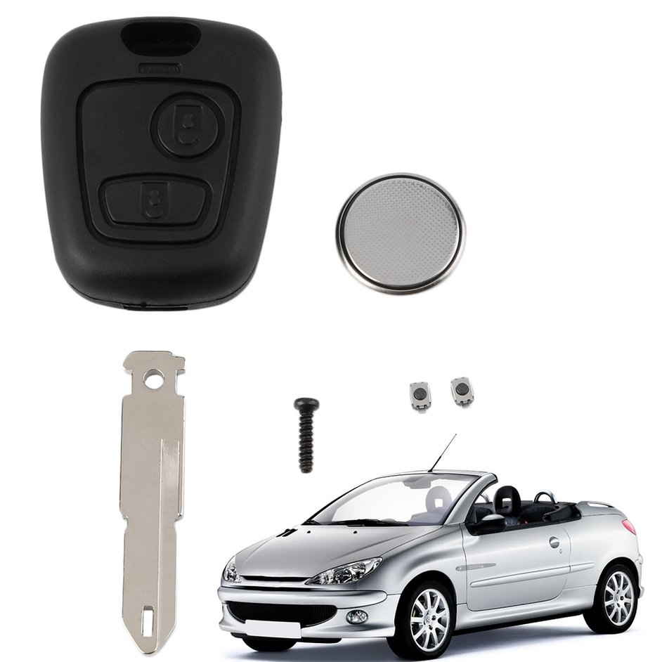 S+New 2 Button Remote Key Fob Case Shell Blade Cell Battery For Peugeot 206 Key