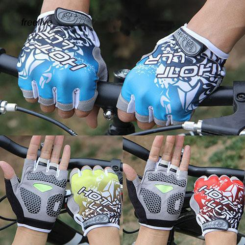 FLE_Unisex Outdoor Bicycle Tactical Equipment Fitness Shockproof Half Finger Gloves