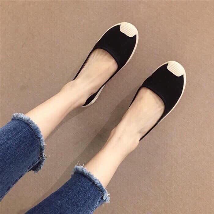 Giày slip on nữ, giày nữ slip on thời trang da cực mềm 2 màu đen và kem cực đẹp