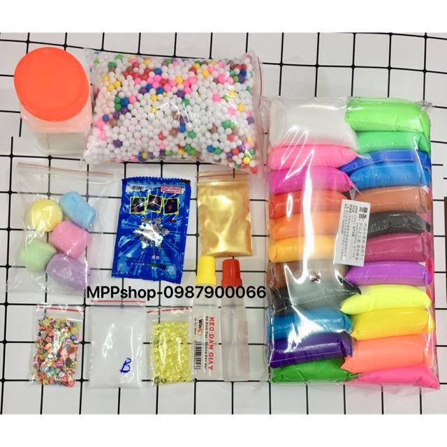 Bộ nguyên liệu làm slime như hình:1 Đất sét 24 mầu,keo ,xốp,tuyết, borax,2 hồ trong,fisbow,cham,bỏng - 3517146 , 1312897849 , 322_1312897849 , 148000 , Bo-nguyen-lieu-lam-slime-nhu-hinh1-Dat-set-24-maukeo-xoptuyet-borax2-ho-trongfisbowchambong-322_1312897849 , shopee.vn , Bộ nguyên liệu làm slime như hình:1 Đất sét 24 mầu,keo ,xốp,tuyết, borax,2 hồ tr