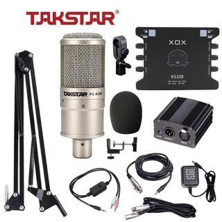 Combo đầy đủ thu âm, hát karaoke livestream chuyên nghiệp Mic Takstar PC-K200 + Soundcard XOX-K10 KS108 + nguồn mic thumbnail