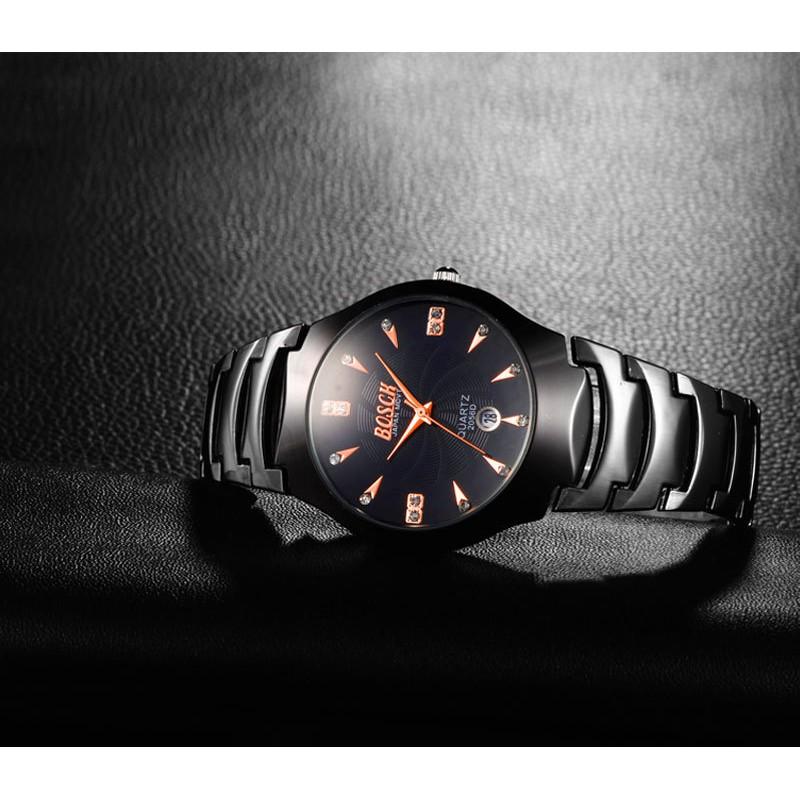 (MUA 1 TẶNG 1) Đồng hồ nam BOSCK b20156 dây thép đen cao cấp + Tặng 1 đồng hồ BOSCK NỮ mặt trắng