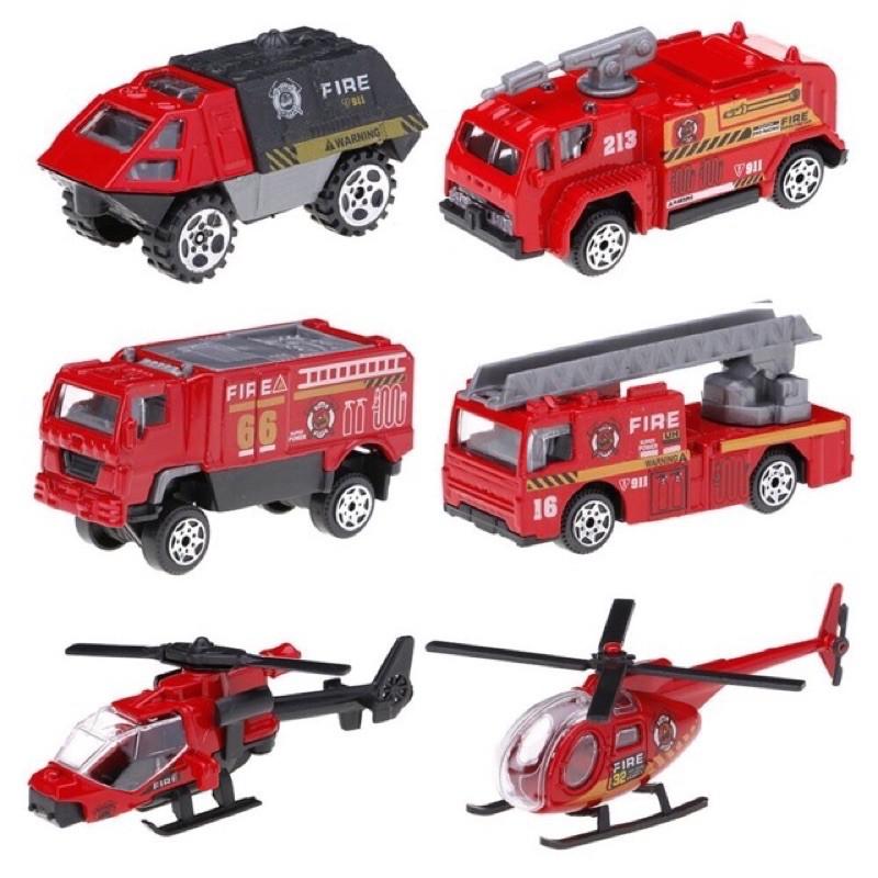 Bộ đồ chơi 6 xe cứu hoả bằng sắt