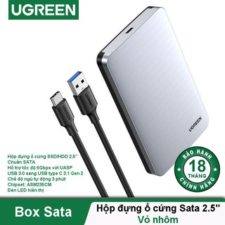 Hộp đựng ổ cứng 2.5 inch SSD, HDD hỗ trợ 6TB, chuẩn SATA UGREEN US221 vỏ nhựa ABS - Hàng chính hãng
